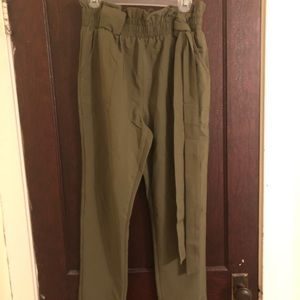 Army green paper bag waist pants